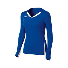 Asics Centerline Womens Long Sleeve Volleyball Jersey  Royal-White