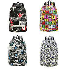 Girl Canvas Shoulder School Bag Bookbag Backpack Rucksack Flower Printed Asxgh