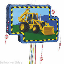 Yellow DIGGER Construction Vehicle Children's Popout Pull Pinata Party Game