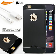 iPhone 6 6S Shockproof Hard Armor Case Back Shield+Lightning Cable/Glass Screen