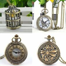 Steampunk Retro Bronze Pocket Clock Quartz Pendant Necklace Long Sweater Chain