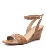 New I Love Billy Bettie Tan Laser Smooth Women Shoes Casuals Sandals Wedges