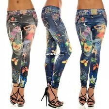 HOT NEW Womens Sexy Floral Print LEGGINGS LOOK LIKE JEANS JEGGING LEGGING Pants