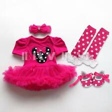 4PC Baby Girl Minnie Mouse Romper Tutu Dress Headband Shoes Legging Party Outfit