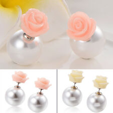 1 Pair Charm Silver Plated Charms Various Rose Flower Round Pearl Stud Earrings