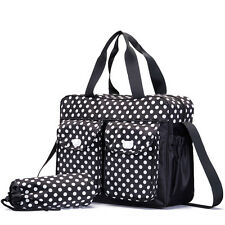 3PCs Set Baby Nappie Diaper Changing Mat Bags Polka Dot Waterproof Tote W/ Strap
