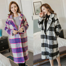 New Womens Wool Blend Jacket Long Casual Slim Vintage Overcoat Trench Outerwear