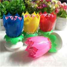 Rotating Musical Blossom Lotus Flower Rotatable Birthday Candles Pink Blue Red A