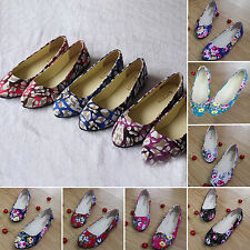 Womens Floral Ballerina Ballet Dolly Pumps Canvas Flat Loafers Single Boat Shoes