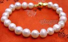 "SALE Big 8-9mm natural white freshwater Pearl 7.5"" bracelet-bra273"