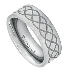 8mm Titanium Band High Polished Pipe cut Ring Laser Engraved Infinity