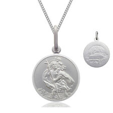 925 Sterling Silver 10mm St Saint Christopher Pendant Chain Necklace DOUBLE SIDE