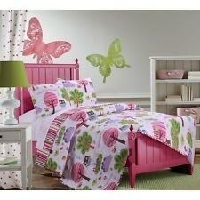 NEW Twin Full Queen Girls Pink Purple Owls Stripe Reversible 3 pc Quilt Set NWT