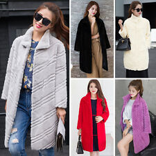 Real Genuine Rabbit Fur Long Jacket Coat Winter Ladies Vintage Fur Outwear