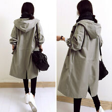 Korean Womens Hooded Dust Coat Long Casual Loose Jacket Cotton Coats Outerwear