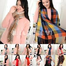 Women Long Cashmere Wool Scarf Large Shawl Lady Plaid Stole Holiday Girl Scarves