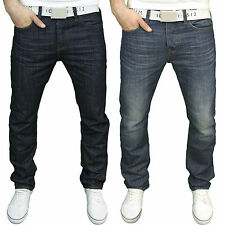 Smith & Jones Mens Designer Branded Regular Fit Jeans w/Free Belt BNWT