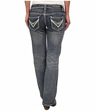 Rock & Roll Cowgirl NWT Juniors Denim Jeans Riding Bootcut W7-3643 Rodeo Western