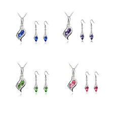 Earrings Hot Austrian Crystal Combination Necklace Fashion NEW HOT 1 Set 2016