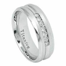 Men's 7mm Titanium Wedding Band White IP Engagement Ring Cubic Zirconia CZs