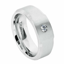 Men's 8mm Titanium Wedding Band White Engagement Ring Cubic Zirconia CZs