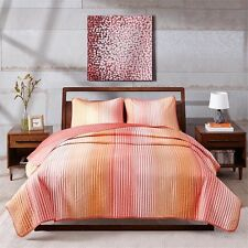 NEW Twin Full Queen King Bed Coral Orange White Striped 3 pc Quilt Set Coverlet
