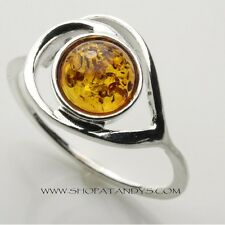 GENUINE AUTHENTIC BALTIC AMBER SOLID 925 STERLING SILVER RING
