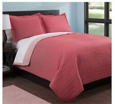 NEW Twin Full Queen King Coverlet Quilt 3 pc Set Reversible Coral Pink Shams WOW