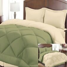 NEW Twin Full Queen King Bed 3 pc Sage Cream Reversible Comforter Shams Set NWT