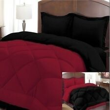 NEW Twin Full Queen King Bed 3 pc Solid Red Black Reversible Comforter Shams Set