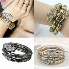 Women Vintage Punk Crystal Rhinestone Curved Jewelry Snake Cuff Bangle Bracelet