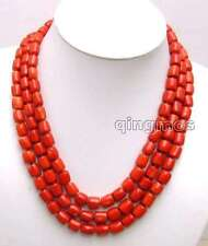 """SALE Big 10-11mm Thick Slice Red natural Coral 3 strands 18-19-20"""" Necklace-5847"""