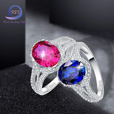Fine 3.7CT Oval Cut Sapphire&Ruby Solid 925 Sterling Silver Ring Pure Jewlery