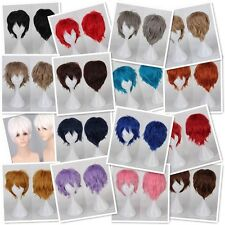 Real Thick Short Hair Wigs Halloween Fancy Anime Cosplay Costume Full Head Wig J
