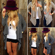 Womens Long Sleeve Spotted Waterfall Cape Cardigan Jacket Wrap Trench Coat Tops