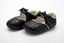 EVIE - Black & Gold Soft Sole Girls Leather Shoe