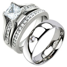 HIS HERS 3 PIECE MENS WOMENS WEDDING ENGAGEMENT STAINLESS STEEL RING BAND SET