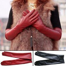 Pop Long PU Leather Gloves Party Women Gloves Warm Outdoors Long Sexy Gloves 1x
