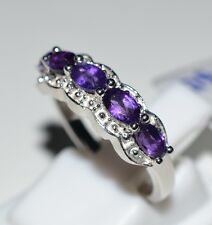 Pure 925 Solid Sterling Silver Genuine Amethyst Fancy Ring Size 6 (US)