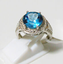Pure 925 Solid Sterling Silver Genuine Blue Topaz Fancy Ring Size 7.0 (US)