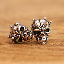 925 Sterling Silver Stud or Studs Antiqued Gothic Punk Skull Earrings + Gift Box