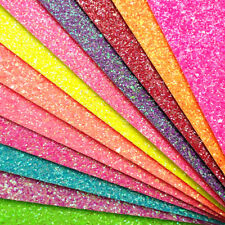 Chunky Neon Glitter Fabric A4 Or A5 Sheets Faux Leather For Books Bows & Crafts