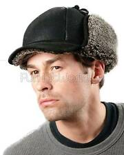 Frosted Black Shearling Sheepskin Fudd Hunting Hat -Brand: frr -Made in Canada