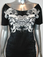 NWT SINFUL BY AFFLICTION womens LOVE & PRIDE scoop neck BOYFRIEND Tee *S