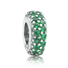 S925 Sterling silver Inspiration Within Green CZ Spacer Charm Bead fit bracelet