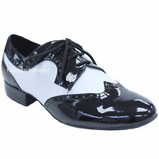 TPS Black Patent &  White Mat Men's Latin Ballroom Dance Shoes All Sizes M41