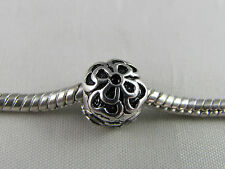 SILVER PLATED ORNATE ROUND STOPPER BEADS FOR EURO STYLE CHARM BRACELETS (SB 015)