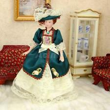1/12 Scale Dollhouse Mini Porcelain Doll Victorian Lady in Green Lace Gown