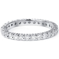 1ct. Round Cut Natural Diamond Eternity Wedding Ring 14k White Gold Womens Band