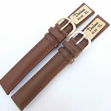 18mm EXTRA LONG DARLENA 1003 PADDED BROWN LEATHER WATCH STRAP  GOLD or SIL